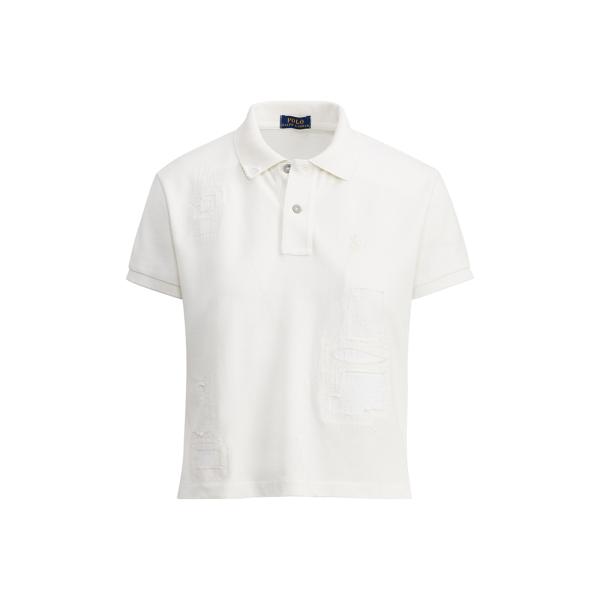 Patchwork Cropped Mesh Polo - Polo Shirts Women - RalphLauren.com