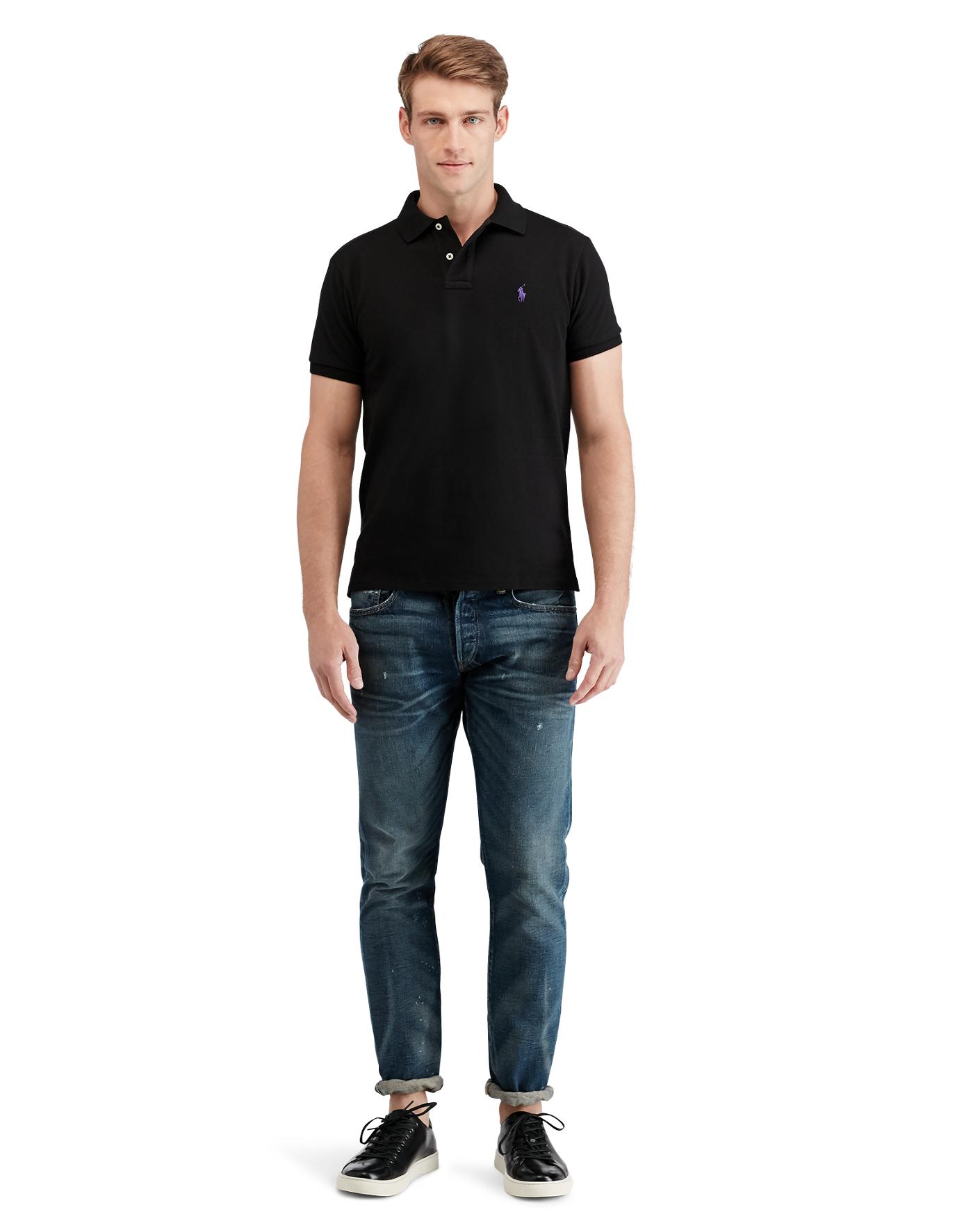 Black polo shirt artee shirt for Black ralph lauren shirt purple horse