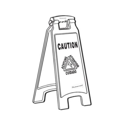 6112-00 FLOOR SIGN CAUTION RUBBERMAID-ENGLISH/SPANISH