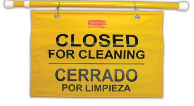 9S16 SITE SAFETY HANGING SIGN W/ MULTI-LINGUAL CLOSED FORCLN