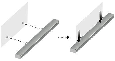 hang the bracket wall mount with the soundbar attached