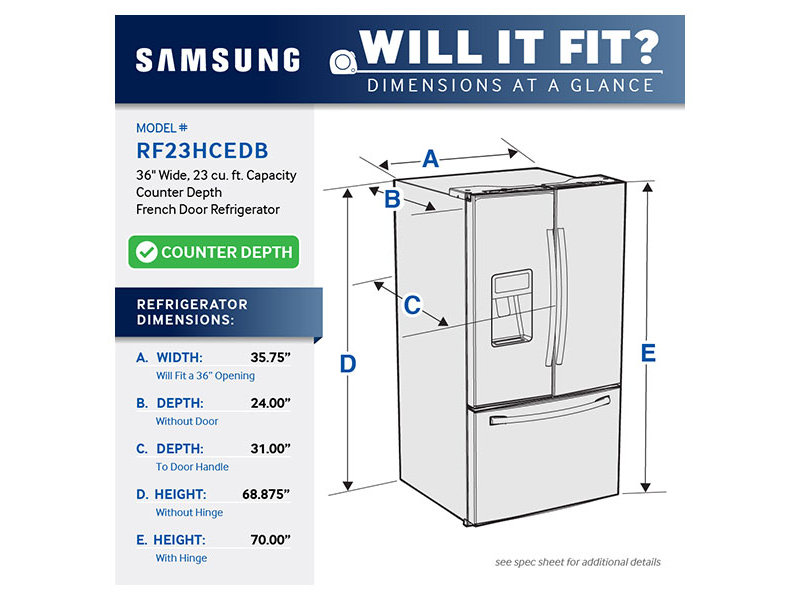 Refrigerator Sizes Chart >> 23 cu. ft. French door Refrigerator Refrigerators - RF23HCEDBSR/AA   Samsung US