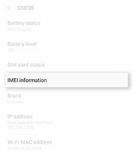 Samsung Galaxy Note5 Locate IMEI Number