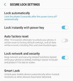 Secure lock settings options
