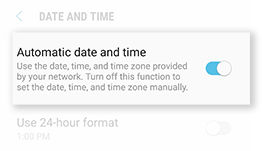 Galaxy S6 Enable Automatic Date and Time