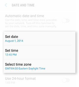 Galaxy S6 Set Date and Time Manually
