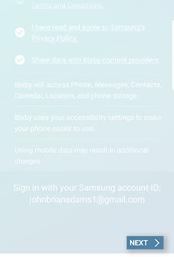 Galaxy S8 Plus Access Bixby Home Set Up Terms Conditions