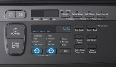 Samsung Flexwash 9600 Child Lock control panel