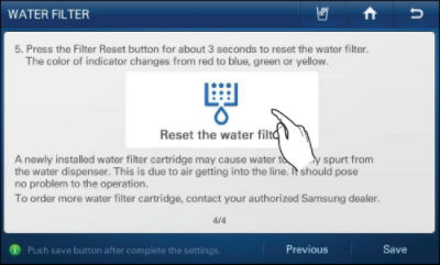 samsung refrigerator touch screen. touch and hold the rectangle in middle of display (approximately 3 seconds) until status filter changes. samsung refrigerator screen