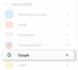 Samsung GalaxyS8 Adding Google Account