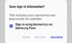 Samsung GalaxyS8 Samsung Pass Save Sign In Info