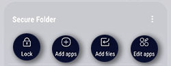 Samsung GalaxyS8 Secure Folder Options
