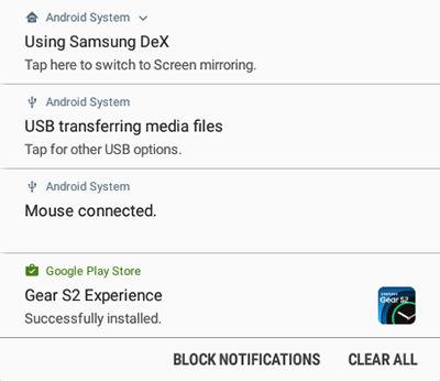Samsung DeX Manage Notifications
