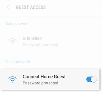 Select the guest network that you want to delete