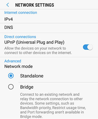 Scroll down to view the NETWORK SETTINGS options