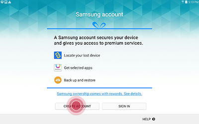 Samsung Touch CREATE ACCOUNT to Create new Samsung Account