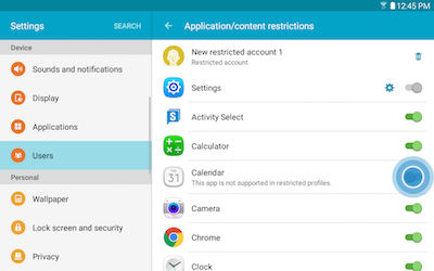 Samsung Touch Slider to Configure Features