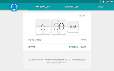 Samsung Galaxy Tab A Alarm