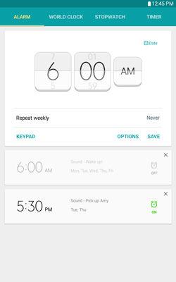 Samsung Galaxy Tab E Alarm