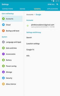 Samsung Galaxy Tab S Accounts Set