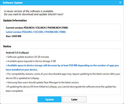 Samsung Click Update to begin downloading the necessary files