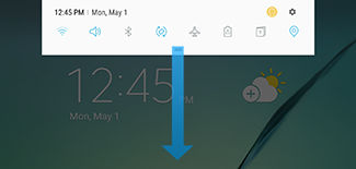 Samsung Galaxy Tab S2 swipe down the Quick settings