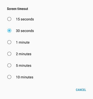 Samsung Galaxy Tab S2 choose a screen timeout