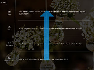 Samsung Galaxy Tab S3 Swipe through Camera Modes Info