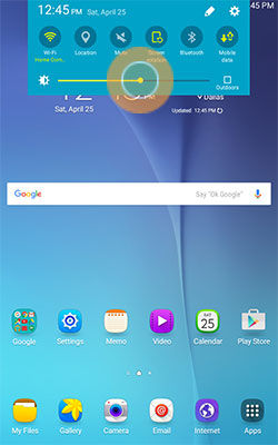 Samsung Touch and Drag Slider to Adjust Brightness