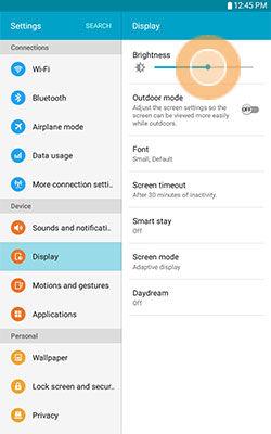 Samsung Touch and Drag Brightness Slider