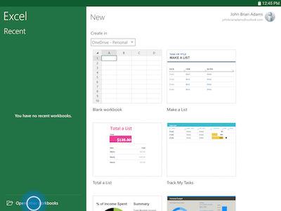 Samsung Touch Open other workbooks