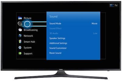 Samsung Navigate to your TV's sound menu
