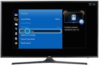 Samsung Select Speaker Settings