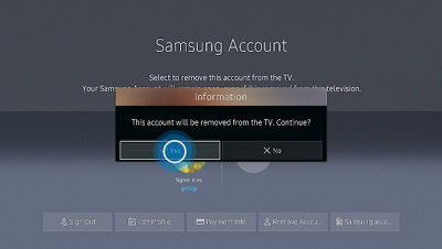 Samsung Account Removal Confirmation Screen