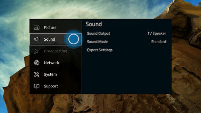 Samsung Smart Control Sound Menu