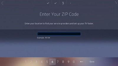 Samsung TV Setup Zip Code