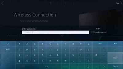 Samsung Wireless Connection Password Screen