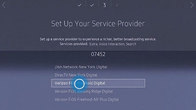 Samsung TV Service Provider Selection