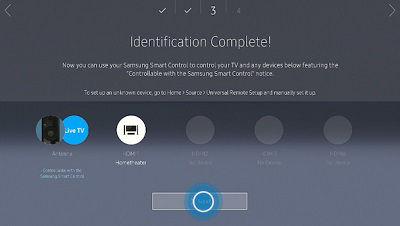 Samsung TV Setup Device Identification