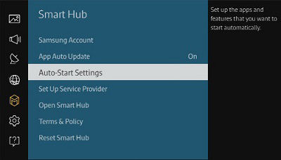 Samsung Smart Hub Auto Start Settings