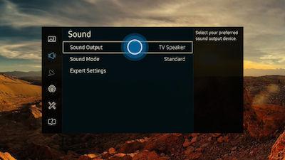 Samsung SUHD TV Sound Menu Sound Output