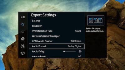Samsung Audio Format Screen