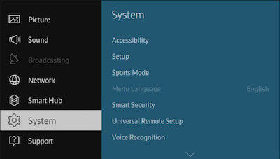 Samsung Select the System Sub Menu