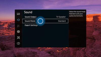 Samsung SUHD TV Sound Menu Sound Mode