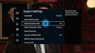 Samsung Select Autorun Smart Hub to Turn On/Off