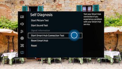 Samsung Select Start Smart Hub Connection Test