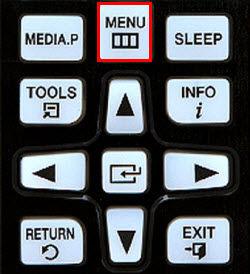 Samsung Press the Menu button on the Samsung remote control