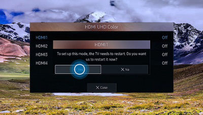 Samsung Select Yes to Restart TV and Enable HDMI UHD Color