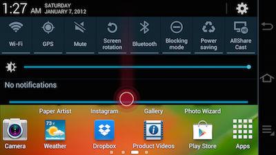 Samsung Galaxy Camera Notification Panel