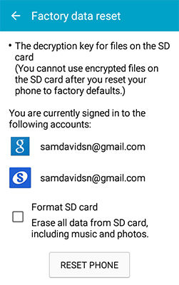 Samsung Galaxy J1 Delete All of My Personal Information